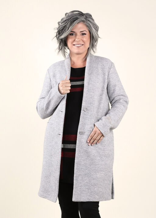 Boiled Wool Coat Long Sleeves Button Front, Grey, original
