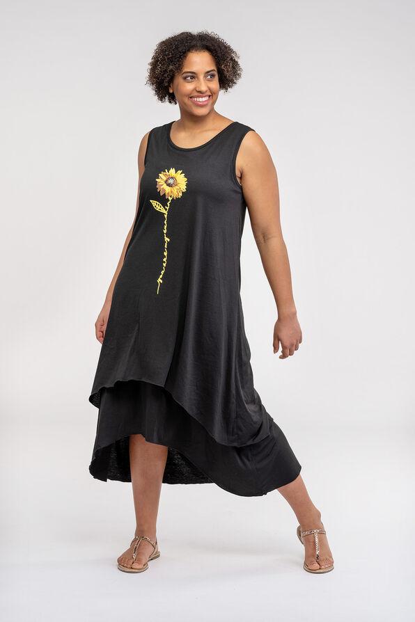 Sunflower Print Hi-Lo Dress, Black, original image number 0