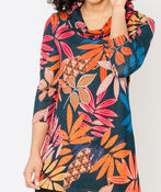 Tropical Leafy Cowl Tunic, Rust, original image number 0
