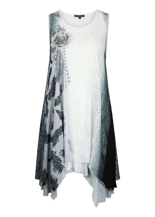 Ombre Lace Tunic With Applique, Grey, original