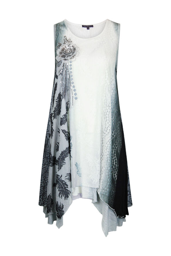 Ombre Lace Tunic With Applique, Grey, original image number 0
