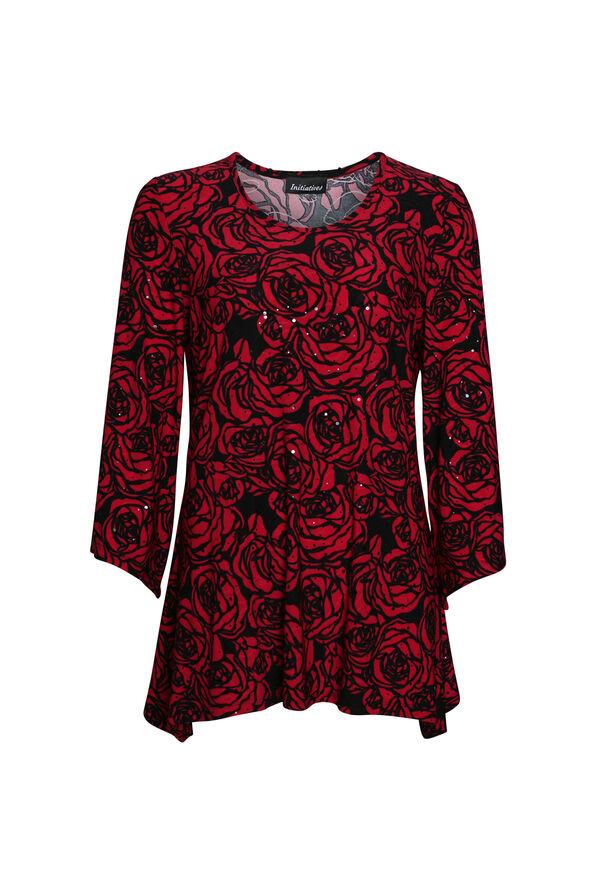 Rose Printed Top , Red, original image number 0