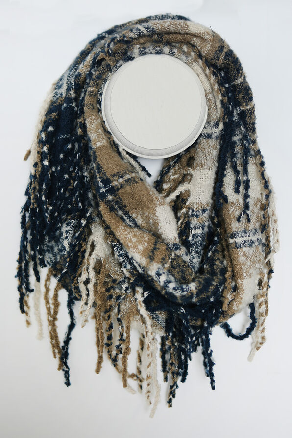 Multi Tone Plaid Boucle Infinity Scarf, , original image number 0