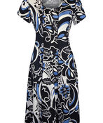 Puff Print Fit and Flare Dress, Navy, original image number 0