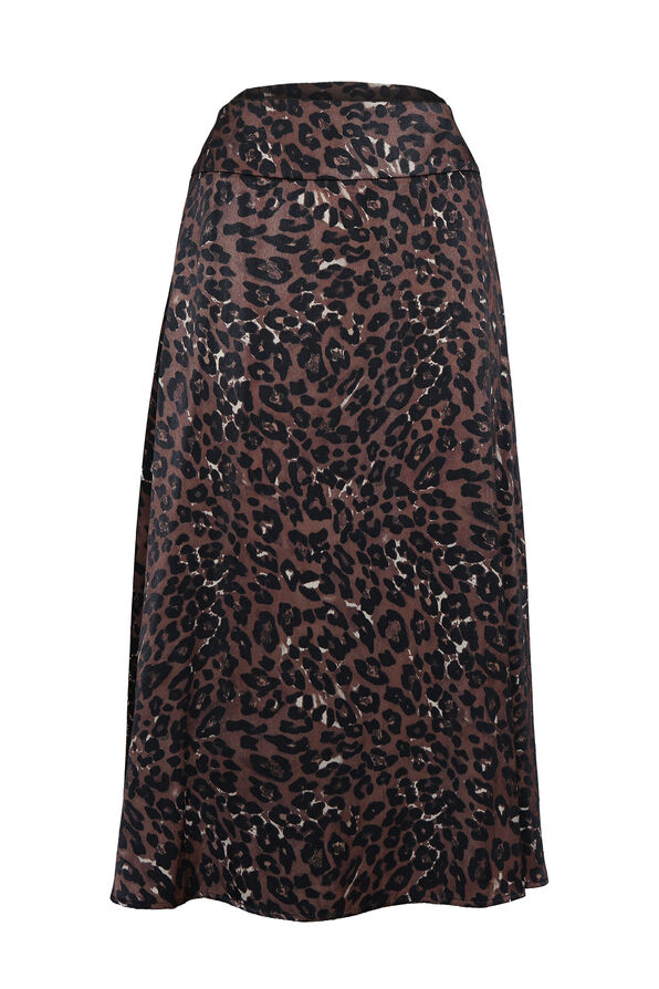 Leopard Print Sateen A-Line Skirt, Brown, original image number 0