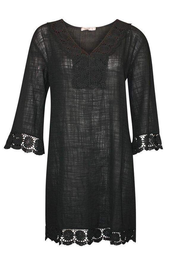 3/4 Sleeve Crochet Trim Cotton Tunic, , original image number 0