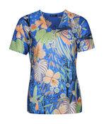 Hummingbird Print Short Sleeve Top with Hotfix Gems, Blue, original image number 0