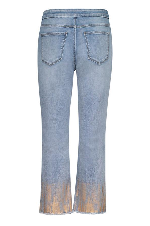 Audrey Straight Leg Crop Jean Gold Fray Hem , Denim, original image number 2