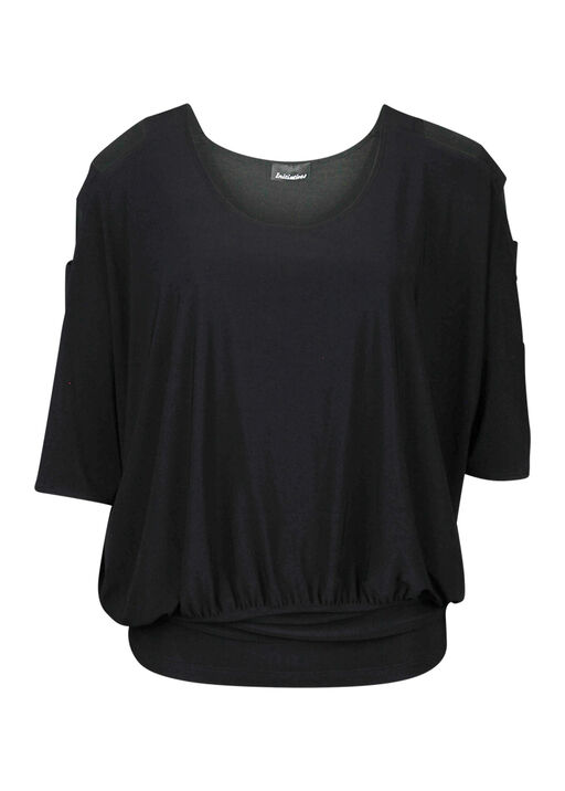 Dolman Sleeve with Banded Waist Top, Black, original