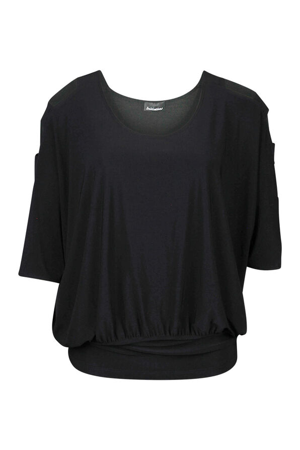 Dolman Sleeve with Banded Waist Top, Black, original image number 1