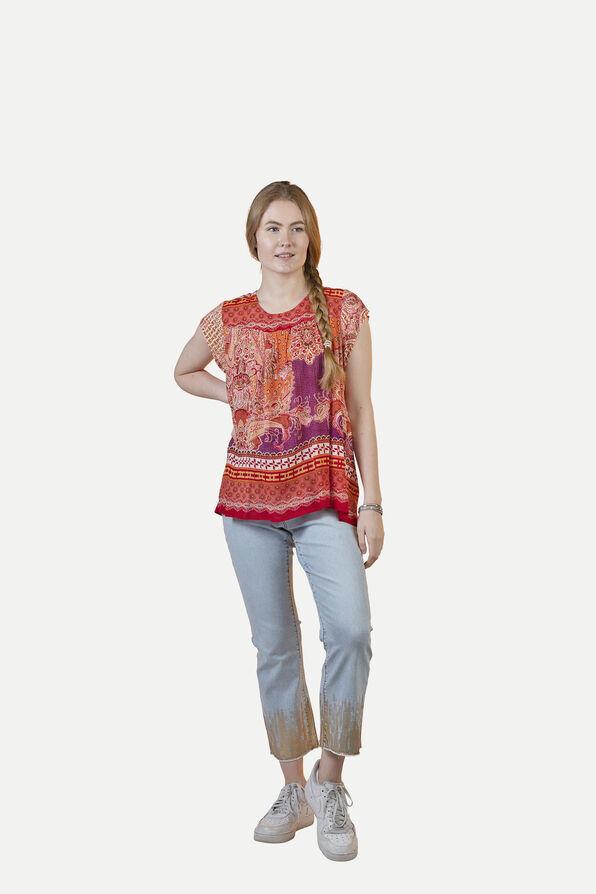 Crinkle Fabric Paisley Print Short Sleeve Shirt, Red, original image number 1