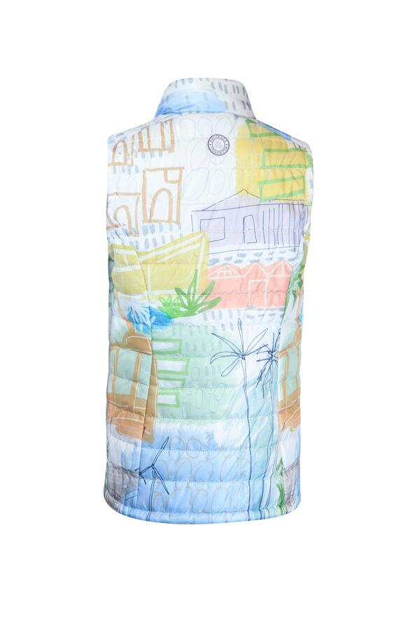 Village Print Puffer Vest, Multi, original image number 1