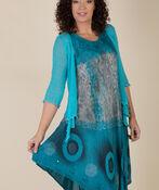 Sleeveless Dip Dye Swing Dress, Teal, original image number 4