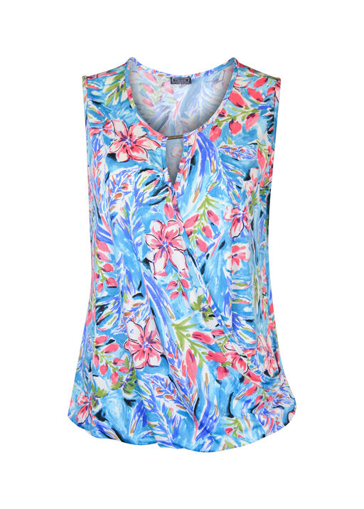 Keyhole Neck Sleeveless Wrap Blouse, Pink, original