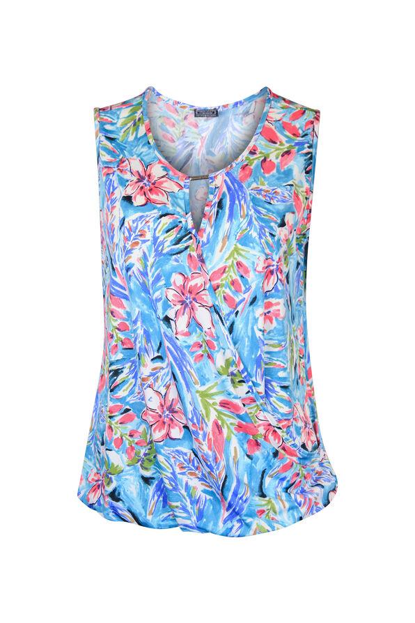 Keyhole Neck Sleeveless Wrap Blouse, Pink, original image number 0