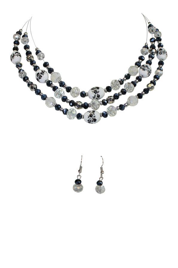 Floral Painted Bead Necklace Earrings Set, Black, original image number 0