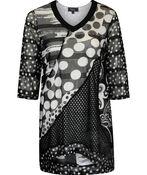 Mesh Overlay Polka Dot 3/4 Sleeve Top, Black, original image number 0