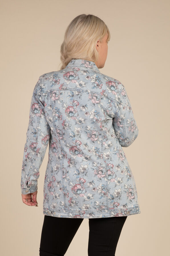 Painted Denim Maxi Jacket, Denim, original image number 1