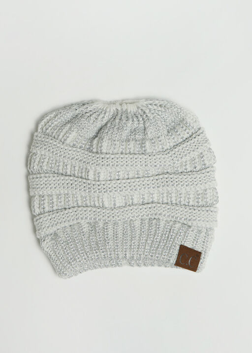 Messy Bun Beanie , Grey, original