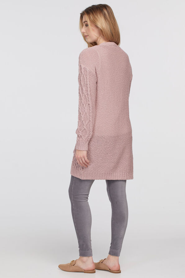 Cable Cardigan Sweater, Pink, original image number 1