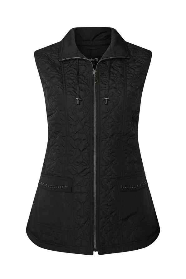 Quilted Heart Vest with Studded Pockets, , original image number 0
