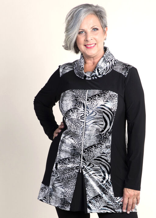 Unique Tunic with Zip Front, Grey, original
