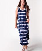Tribal Sleeveless Tie Dye Maxi Dress , Blue, original image number 0