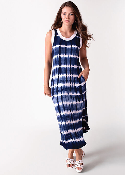 Tribal Sleeveless Tie Dye Maxi Dress , Blue, original