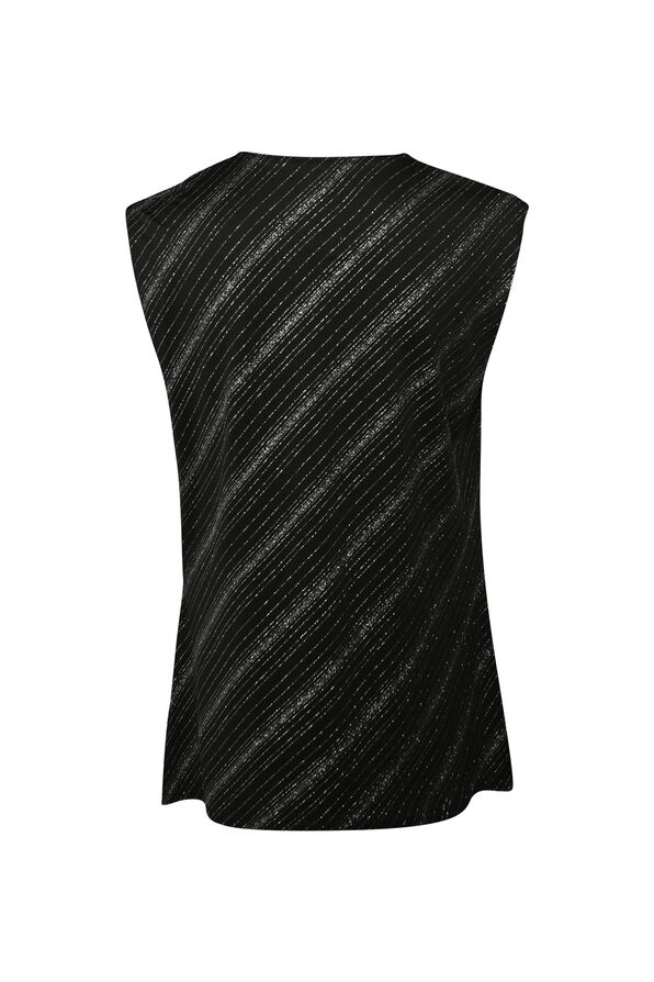 Sleeveless Glitter Top with Drape Neck, Black, original image number 1