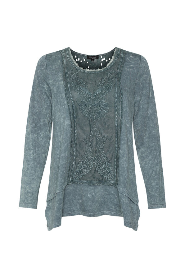 Acid Wash Tunic with Lace, , original image number 1