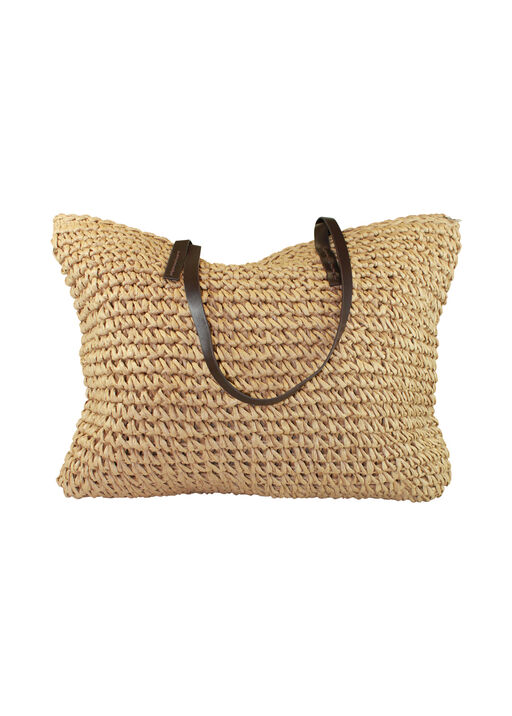 Straw Beach Bag with Faux Leather Handles, Natural, original