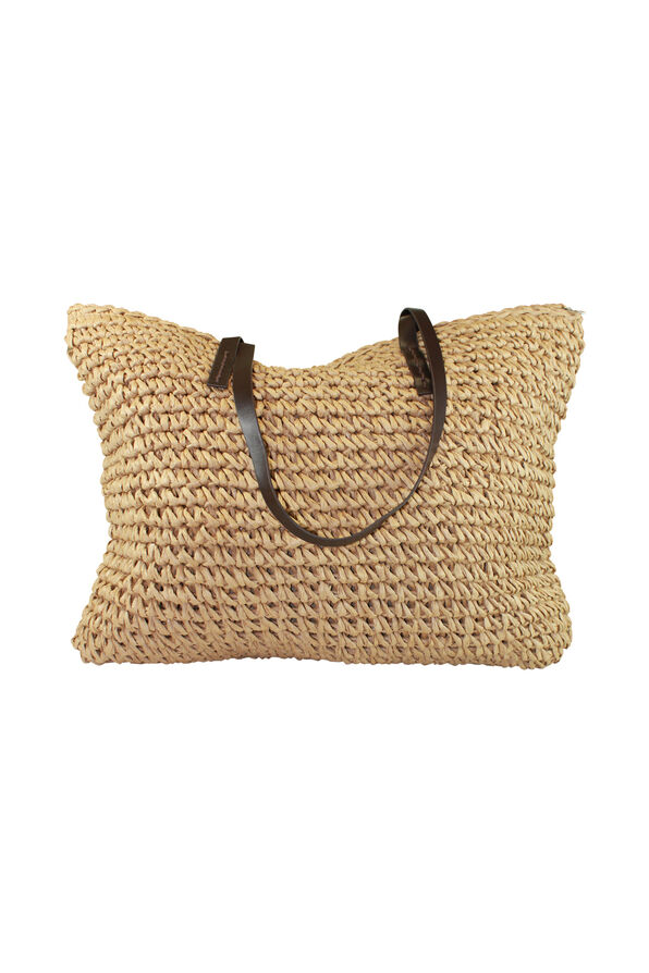 Straw Beach Bag with Faux Leather Handles, Natural, original image number 0