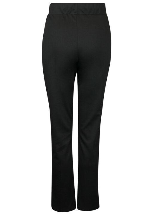 Front Seam Pants with Elastic Drawstring Waist, Black, original