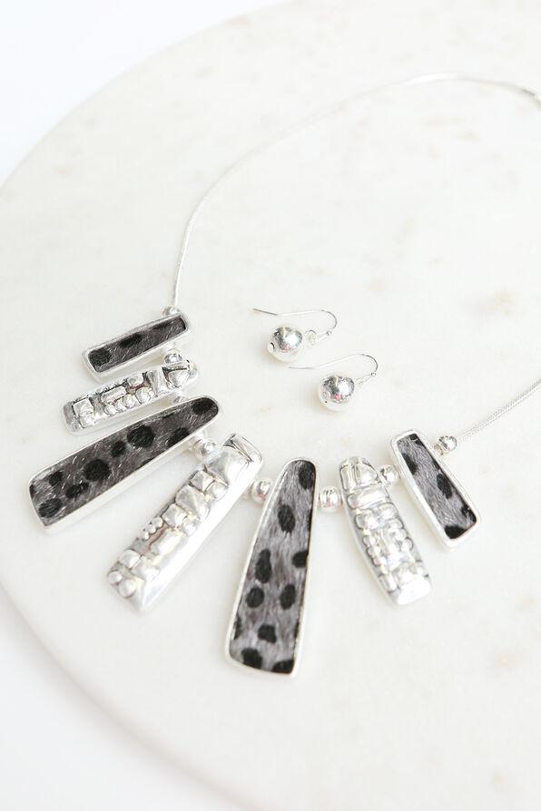 Cheetah Statement Necklace Set  , Silver, original image number 1
