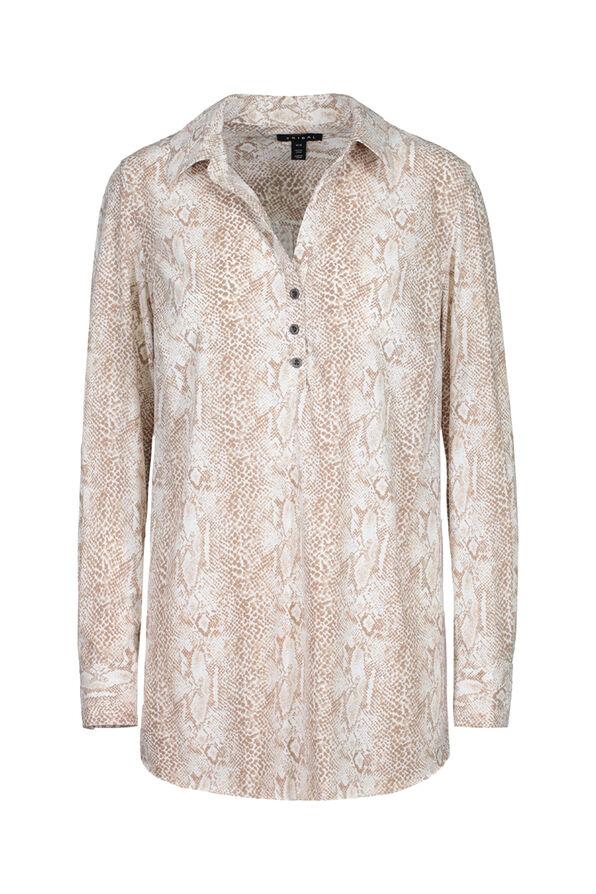 Printed Wrinkle Resistant Shirt, Natural, original image number 0