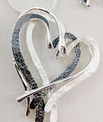 Intertwined Hearts Necklace and Earrings Set, Silver, original image number 1