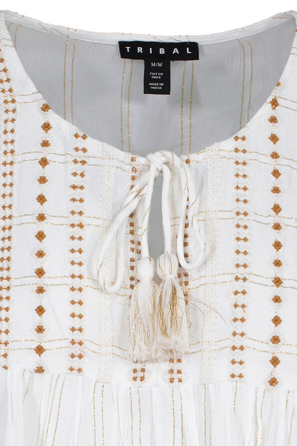 Flutter Sleeve Peasant Blouse With Tassels, White, original image number 2