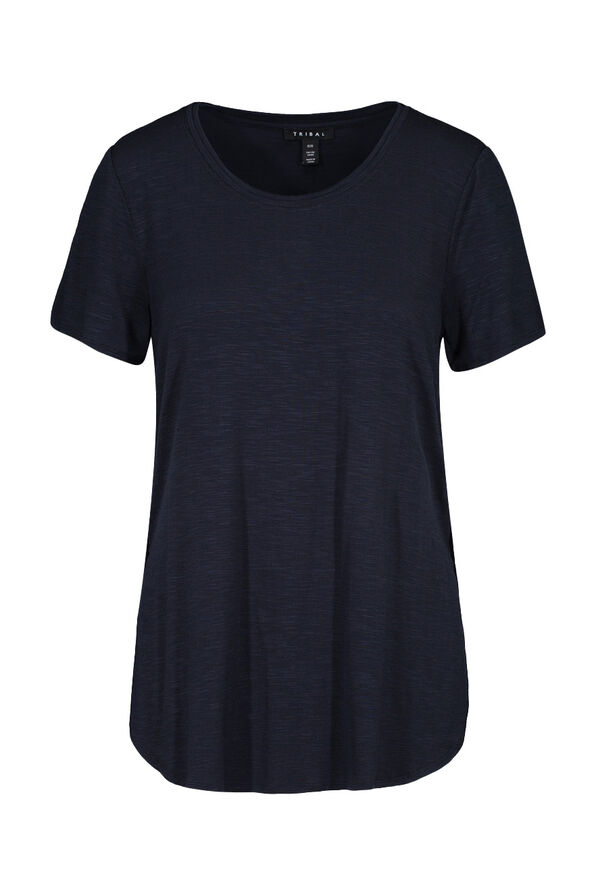 Crew Neck T-Shirt with Hi-Lo Hem, , original image number 0