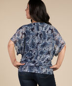 Lace and Paisley Top, Navy, original image number 1