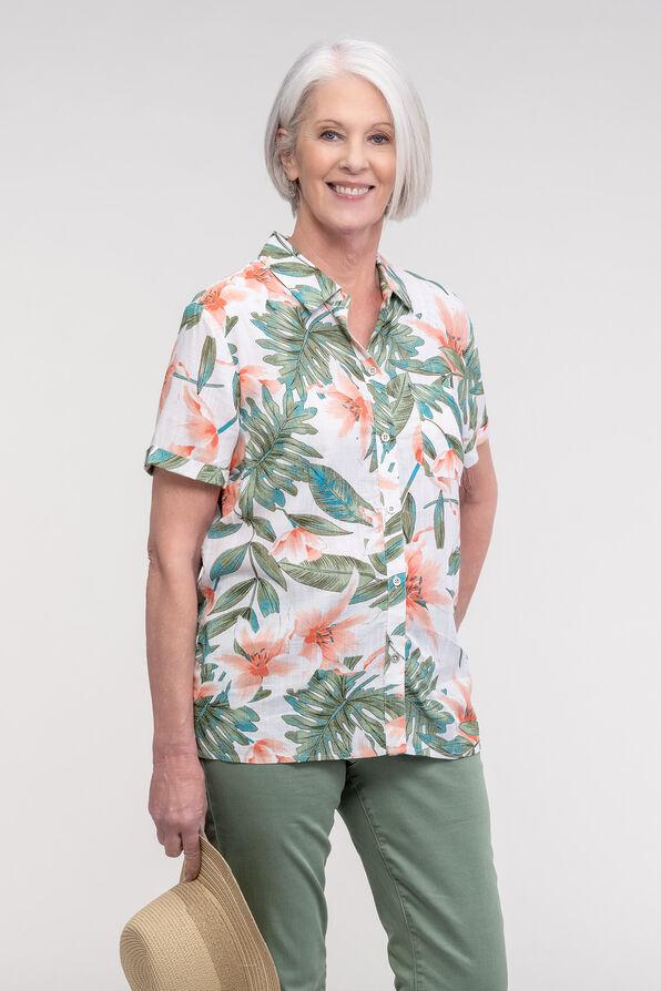 Hawaiian Print Camp Shirt, Green, original image number 0