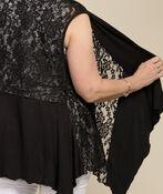 Sleeveless Lace Cardi, Black, original image number 1