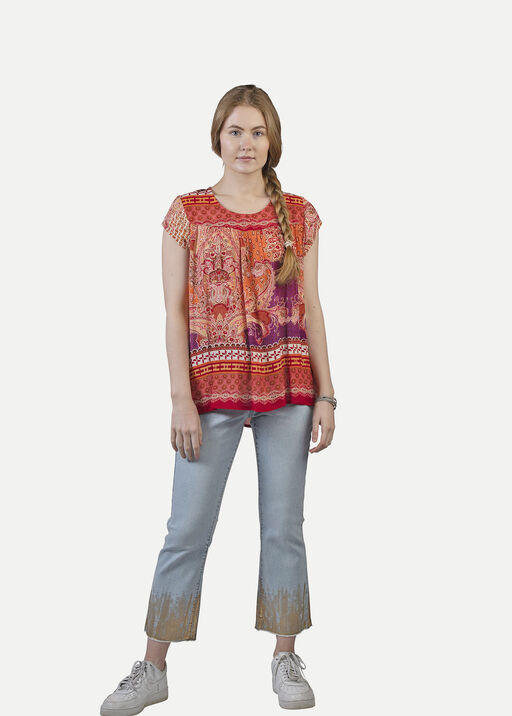 Crinkle Fabric Paisley Print Short Sleeve Shirt, Red, original
