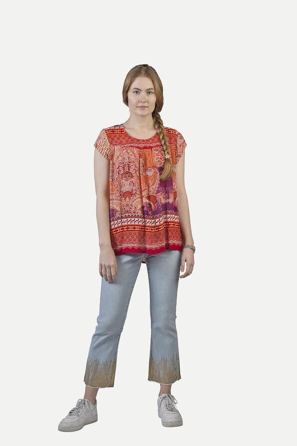 Crinkle Fabric Paisley Print Short Sleeve Shirt, Red, original image number 0