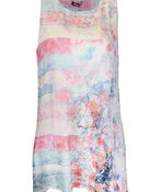 Printed Layered Chiffon Sleeveless Tunic, Pink, original image number 0
