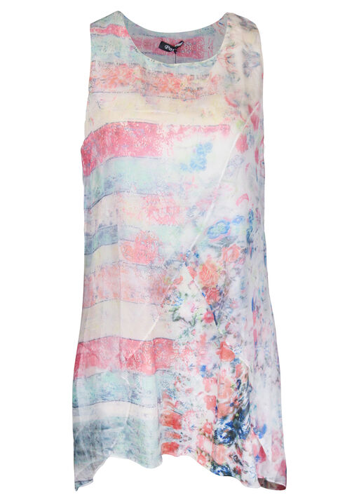 Printed Layered Chiffon Sleeveless Tunic, Pink, original