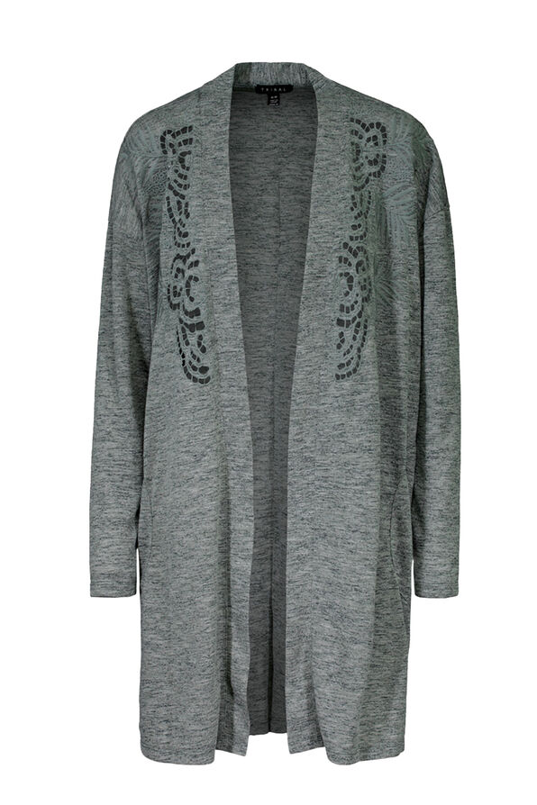 Cardigan with Embroidered Cut Outs, Green, original image number 0