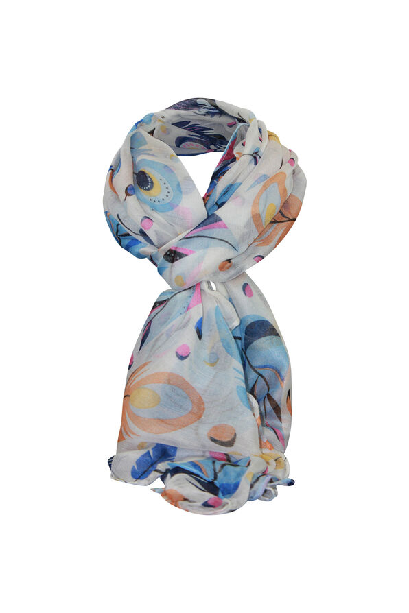 Feather Printed Rectangle Scarf, Multi, original image number 0
