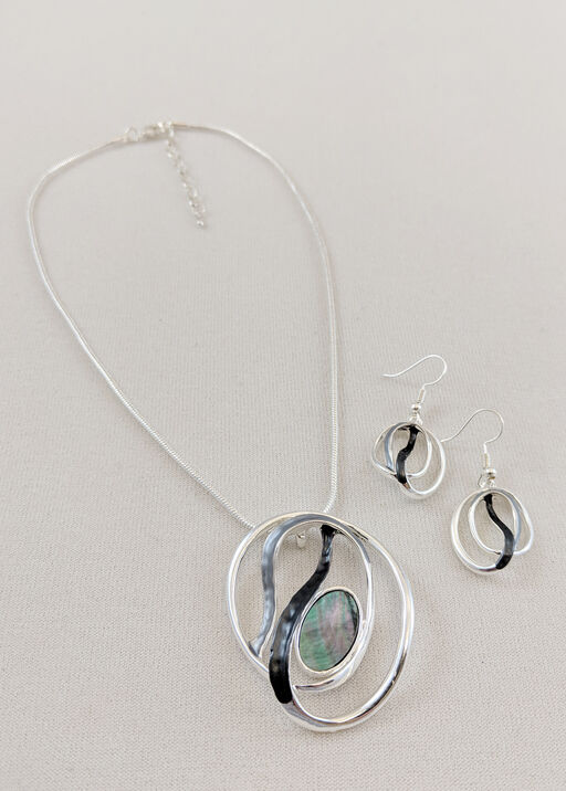 Painted Swirl Necklace and Earrings Set, , original