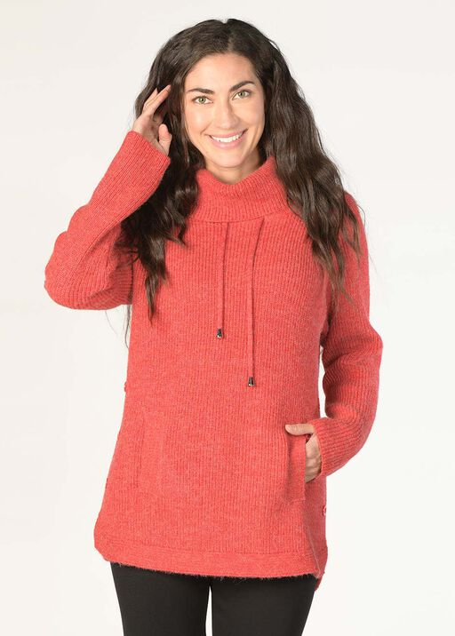 High-Neck Side-Buttoned Sweater, Red, original