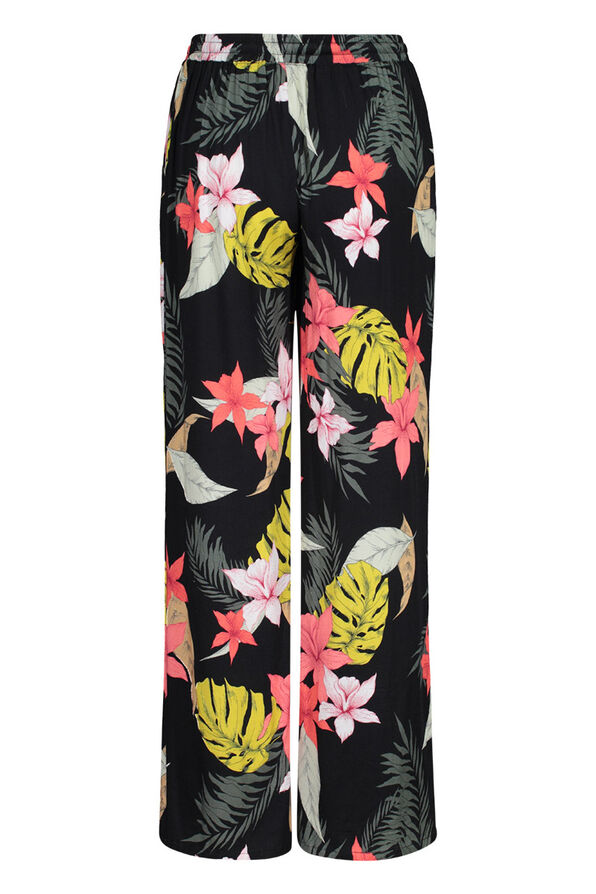 Wide Leg Ankle Palazzo Pant in Floral Print, Black, original image number 2